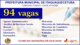 Concurso Público 01/2020 da Prefeitura de Itaquaquecetuba / Realização: Instituto Mais / Imagem: Divulgação
