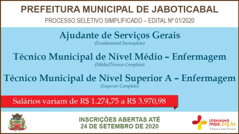 Processo Seletivo Simplificado 01/2020 da Prefeitura de Jaboticabal / Realização: Instituto Mais / Imagem: Divulgação