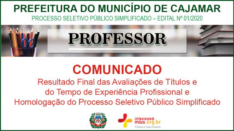Processo Seletivo Público Simplificado 01/2020 da Prefeitura de Cajamar / Realização: Instituto Mais / Imagem: Divulgação