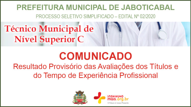 Processo Seletivo Simplificado 02/2020 da Prefeitura de Jaboticabal / Realização: Instituto Mais / Imagem: Divulgação