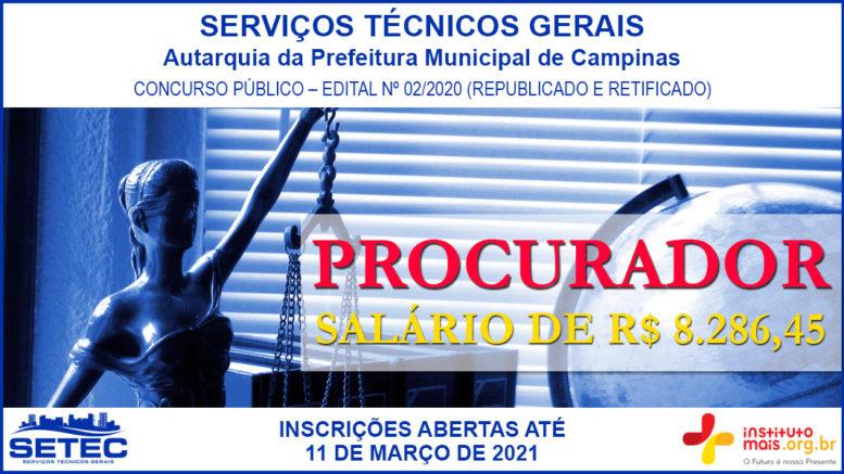 Concurso Público 02/2020 da SETEC Campinas / Realização: Instituto Mais / Imagem: Divulgação