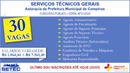 Concurso Público 01/2020 da SETEC Campinas / Realização: Instituto Mais / Imagem: Divulgação
