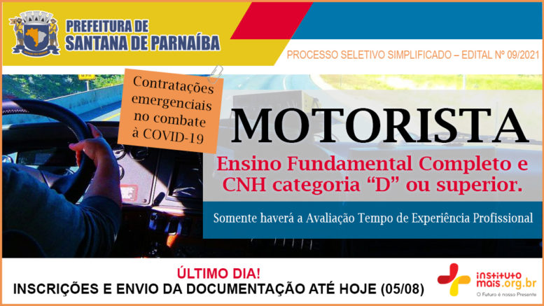Processo Seletivo Simplificado 09/2021 da Prefeitura de Santana de Parnaíba / Realização: Instituto Mais / Imagem: Divulgação