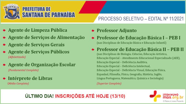 Processo Seletivo 11/2021 da Prefeitura de Santana de Parnaíba / Realização: Instituto Mais / Imagem: Divulgação